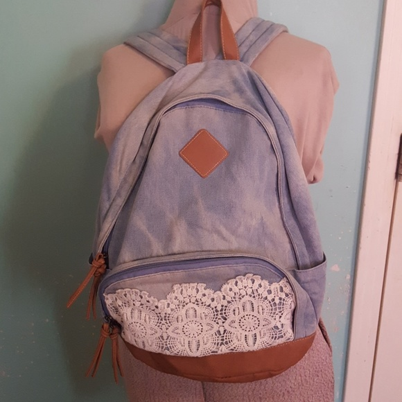 e021c576fc Claire s Handbags - Claire s Denim and Lace Backpack.